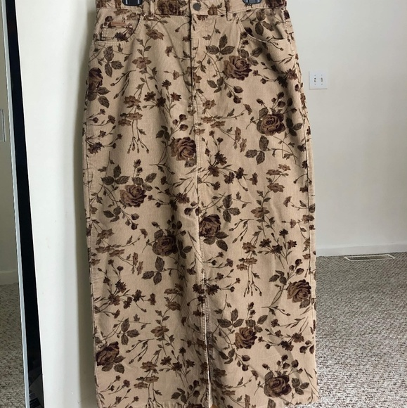 aebc46b9d2 Eddie Bauer Skirts | Vintage Midi Floral Cordorouy Skirt 12 | Poshmark